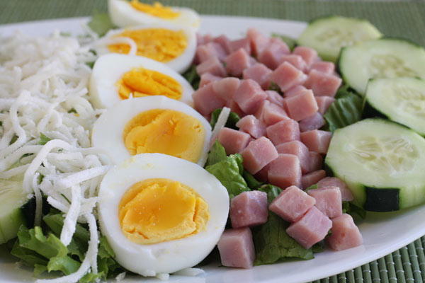 close up view of Salad with Ham and Cheese