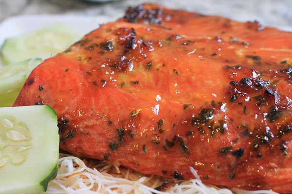 Apricot Glazed Salmon on a plate
