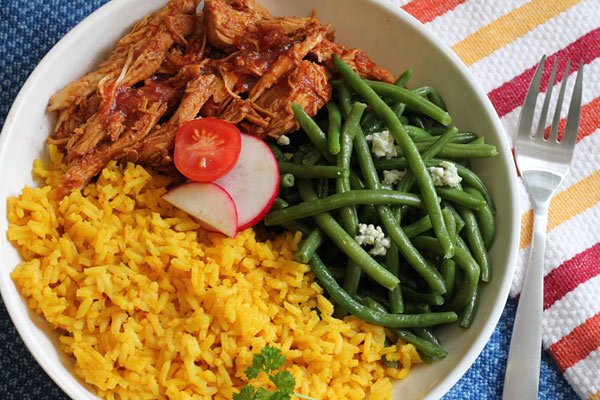 Sweet Chili Chicken with rice and green beans