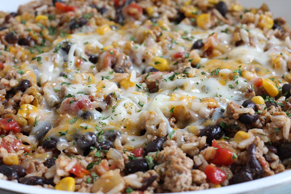 turkey skillet close up with corn beans and cheese