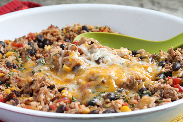 Ground Turkey Skillet Cooked with Tomatoes and Black Beans
