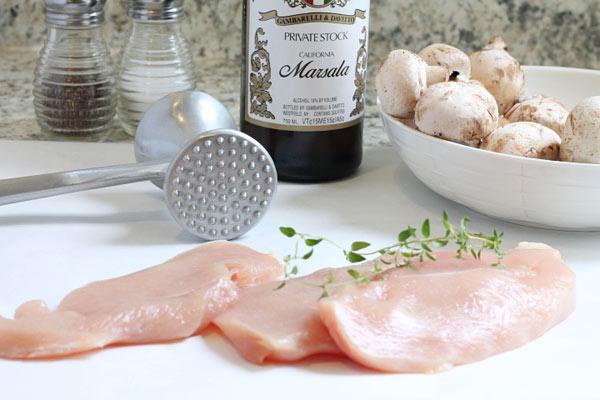 raw chicken and mushrooms with marsala wine