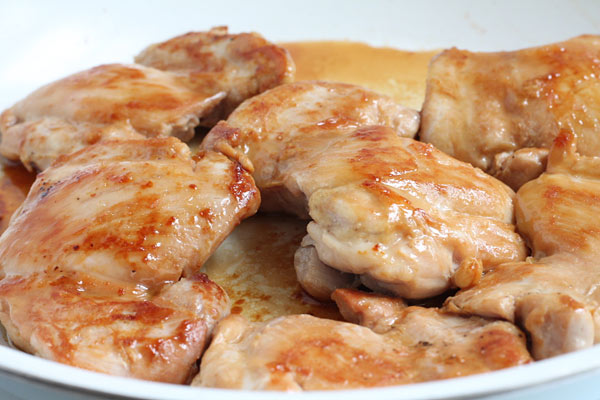 Sticky Chicken Cooking in the Skillet
