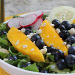 healthy salad Tossed Salad with Mango Blueberries and Cucumber