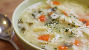 Crockpot Chicken Orzo Lemon Soup