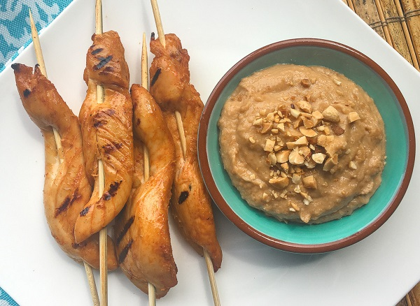 Chicken Satay with a bowl of Peanut Dipping Sauce