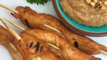 Easy Chicken Satay with Peanut Dipping Sauce