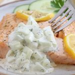 Pan Poached Salmon with Cucumber Lemon Dill Sauce
