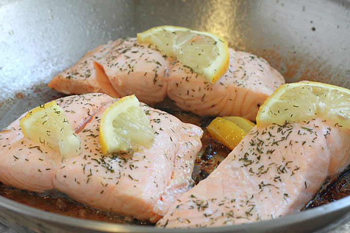 Pan Poached Salmon in the frying pan