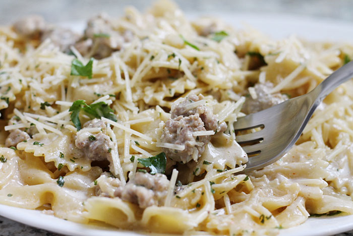 plate of Pasta with Sausage and Cajun Cream Sauce