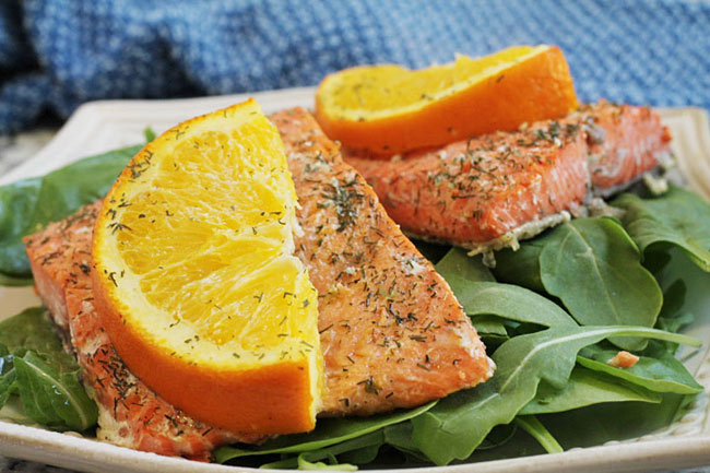 salmon cooked with orange and dill
