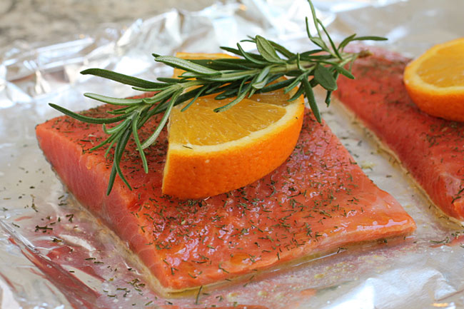 salmon with orange and dill