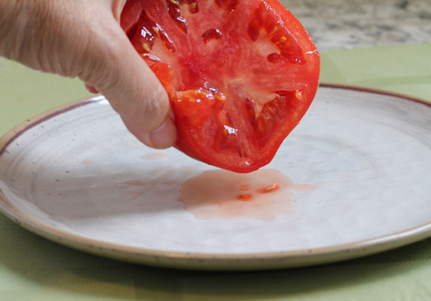 squeeze the tomato before dicing for the salad