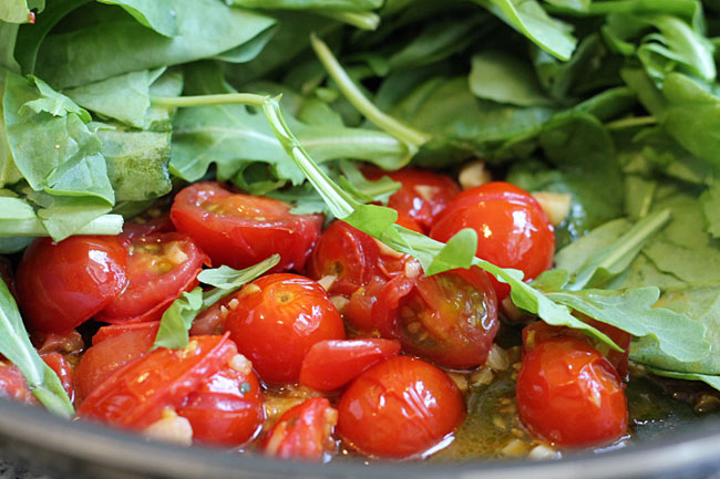 sauteed cherry tomatoes with the baby spinach and arugula