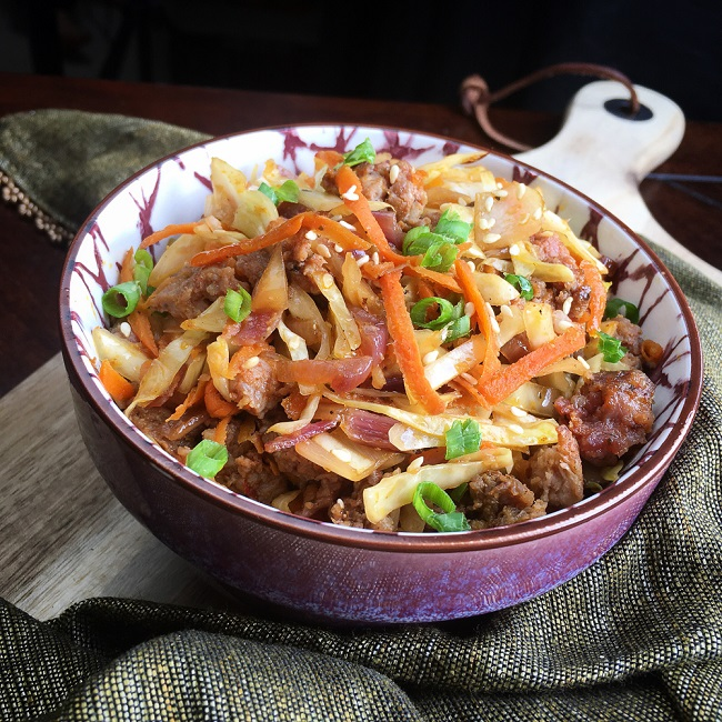 egg roll made in a bowl