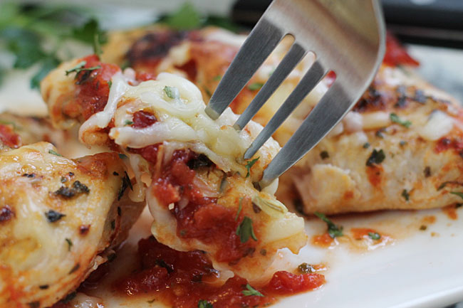 close up of skinny chicken parm