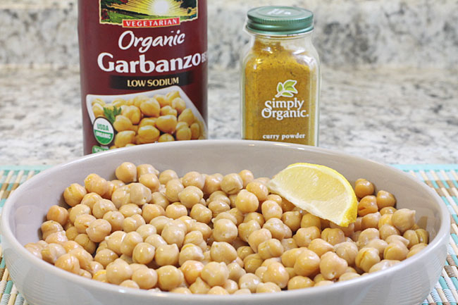 bowl of chick peas or garbanzo beans with curry