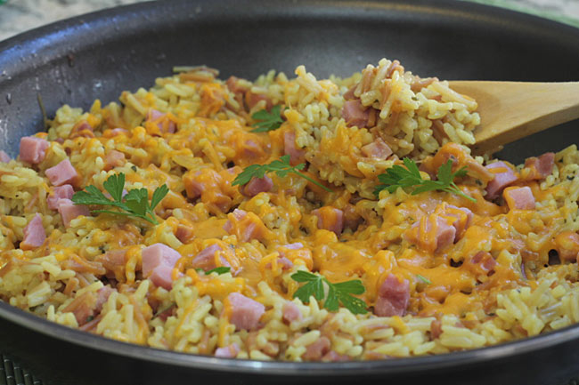 Skillet Ham Rice Cheese