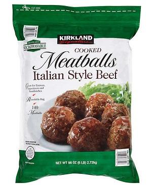 bag of kirkland frozen meatballs