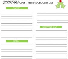 Christmas menu and grocery list