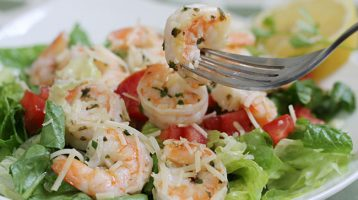 delicious shrimp scampi salad