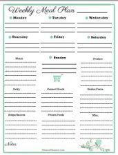 printable free meal plan