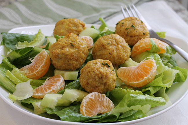 healthy chicken meatballs in a Tossed Salad