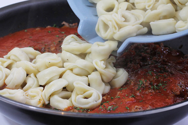Ground Beef and Tortellini in Sauce