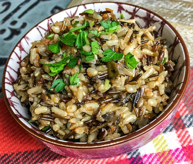 wild rice pilaf made in the Instant Pot
