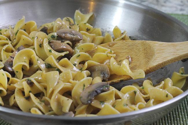 mushroom stroganoff in a skillet