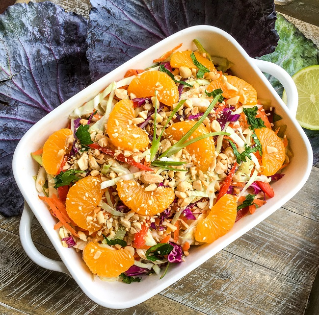Asian Salad with Cabbage and Peanut Dressing