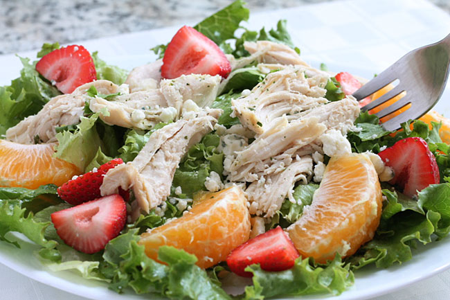 salad with crockpot chicken and fruit