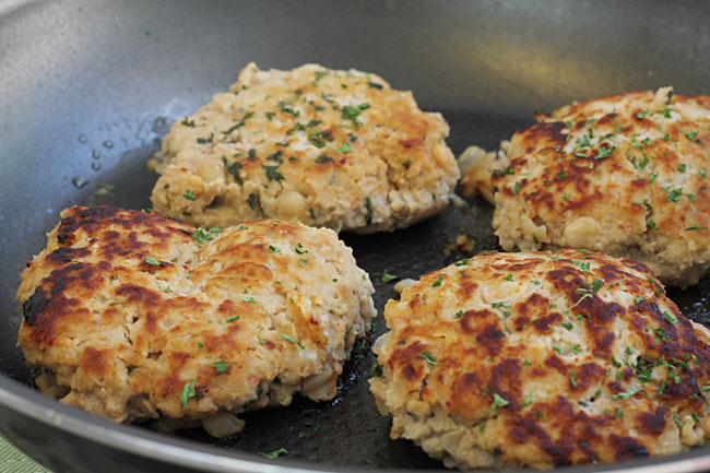 turkey patties frying