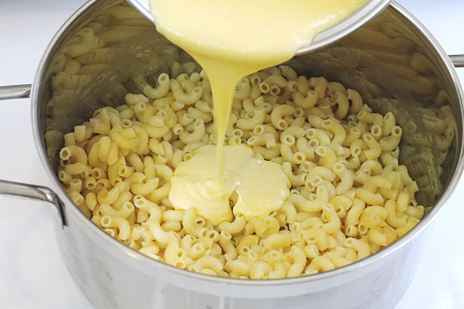 velveeta mac and cheese in the pan