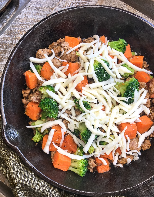 skillet sausage with sweet potatoes
