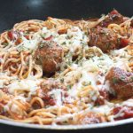 spaghetti cooked with frozen meatballs