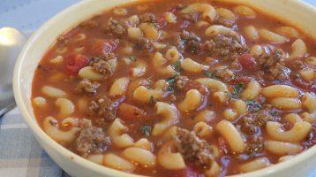 hamburger and macaroni soup