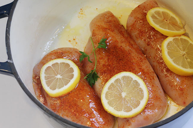 Chicken Breasts in the dutch oven