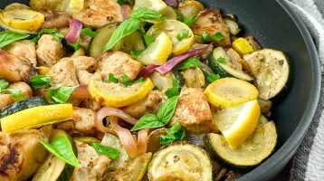 lemon chicken on skillet squash