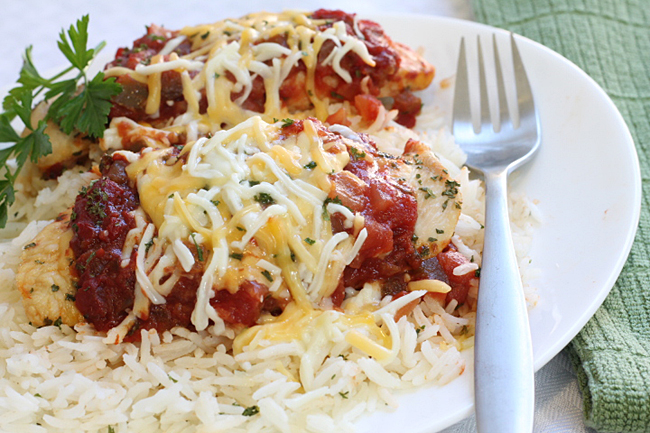 Cheesy Baked Salsa Chicken