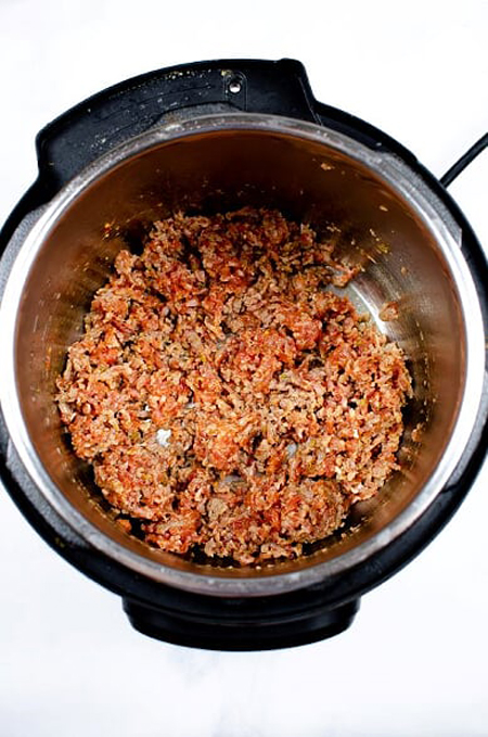 sausage cooking in the Instant Pot