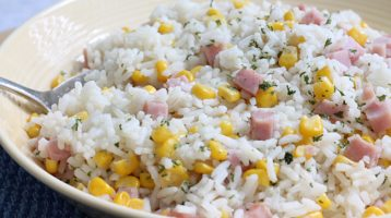 bowl of white rice and corn