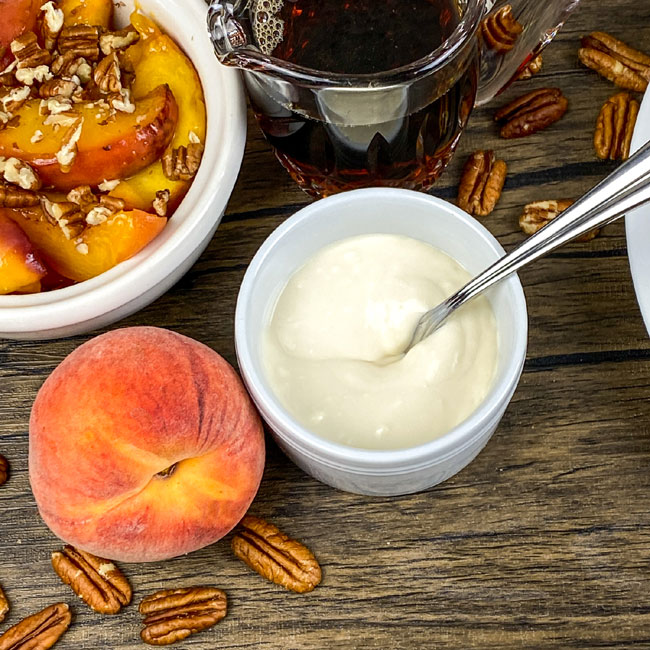 peaches and pancakes and syrup for breakfast